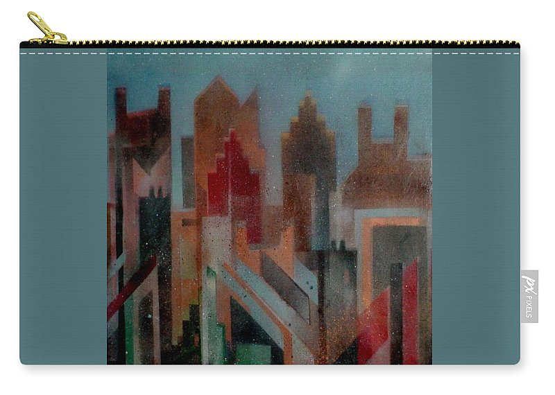 Abstract Carry-all Pouch featuring the painting Gothem City by Anita Burgermeister