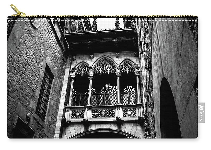 Street Carry-all Pouch featuring the photograph Gothic Bridge In The Gothic Quarter Of Barcelona by Abel Santos
