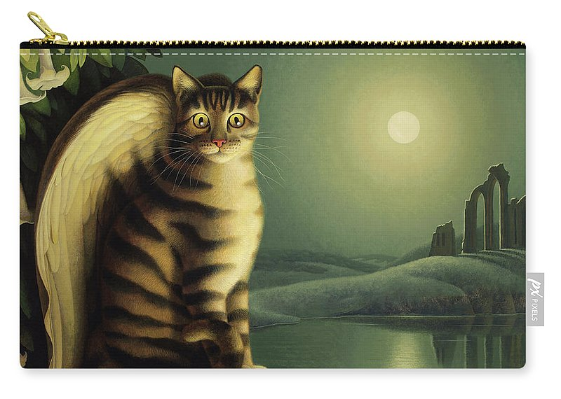 Cat Carry-all Pouch featuring the painting Gothic by Chris Miles