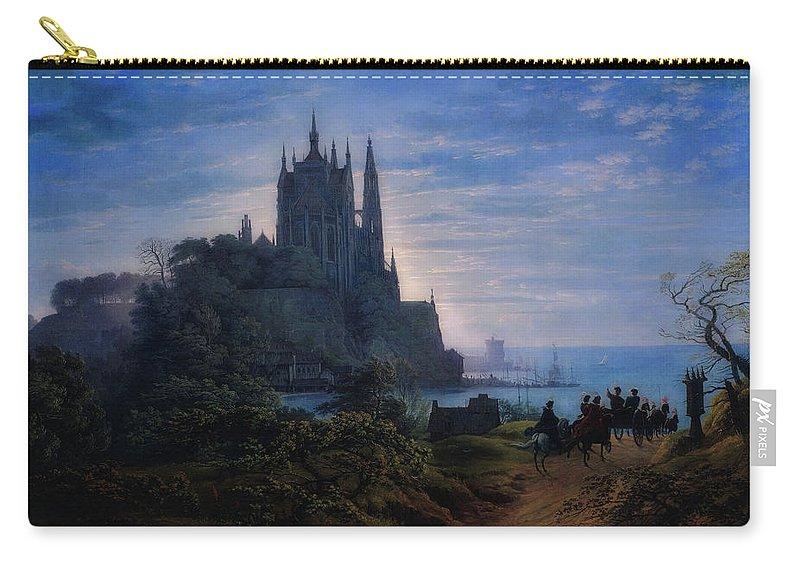 Painting Carry-all Pouch featuring the painting Gothic Church On A Rock by Karl Schinkel