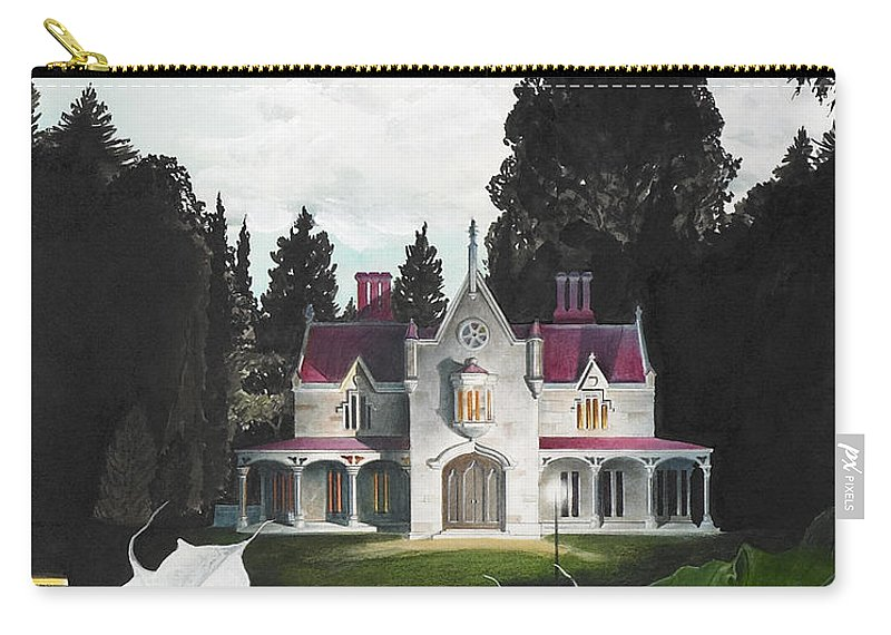 Fantasy Carry-all Pouch featuring the painting Gothic Country House detail from Night Bridge by Melissa A Benson