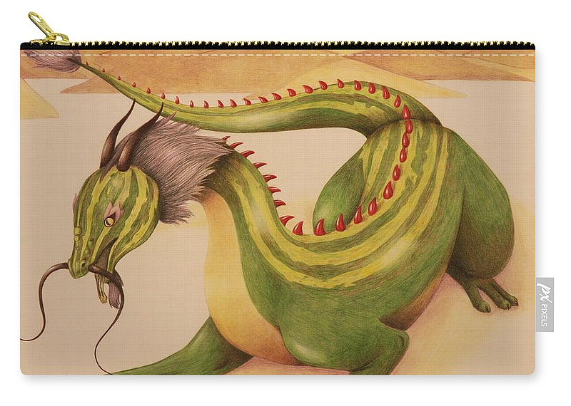 Dragon Carry-all Pouch featuring the drawing Gourd Dragon by Michelle Miron-Rebbe
