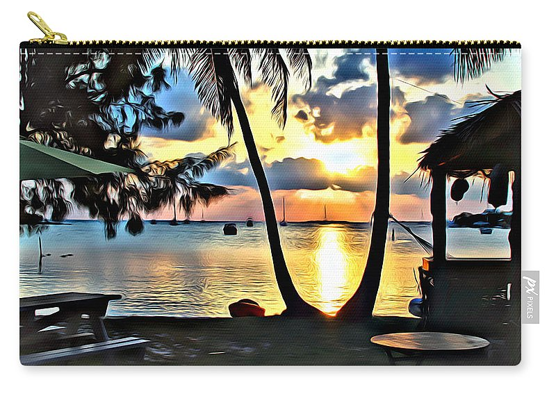 Grabbers Carry-all Pouch featuring the digital art Grabbers Sunset by Anthony C Chen