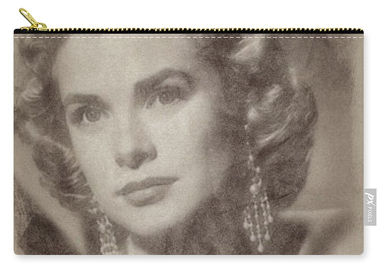 Classic Carry-all Pouch featuring the pastel Grace Kelly, Vintage Hollywood Actress by John Springfield