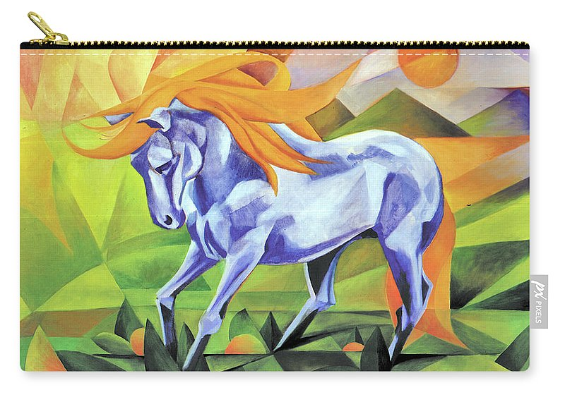 Stallion Carry-all Pouch featuring the painting Graceful Stallion With Flaming Mane by Johannes Margreiter