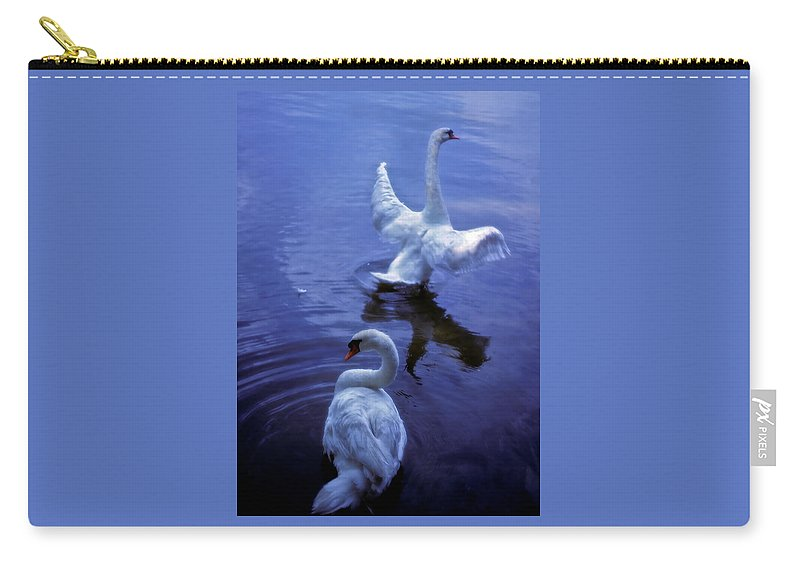 Swan Carry-all Pouch featuring the photograph Graceful Swans by Marie Hicks