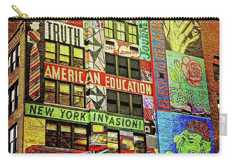 New York Graffitti Carry-all Pouch featuring the photograph Graffitti On New York City Building by Nishanth Gopinathan