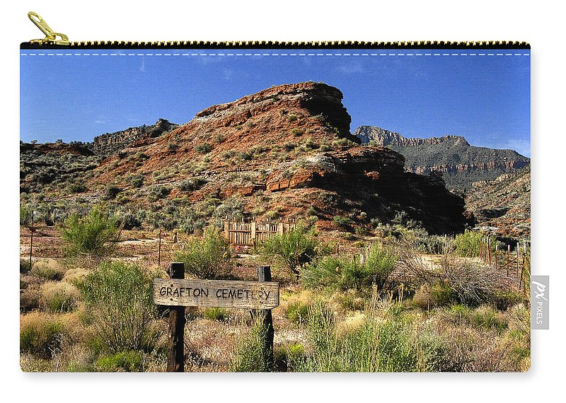 Grafton Utah Carry-all Pouch featuring the painting Grafton Cemetery by David Lee Thompson