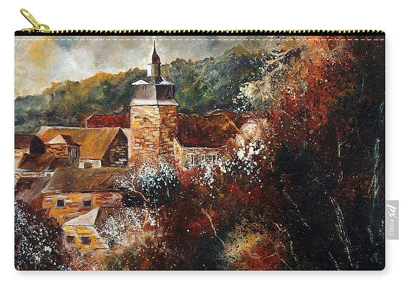 Village Carry-all Pouch featuring the painting Graide Village Belgium by Pol Ledent