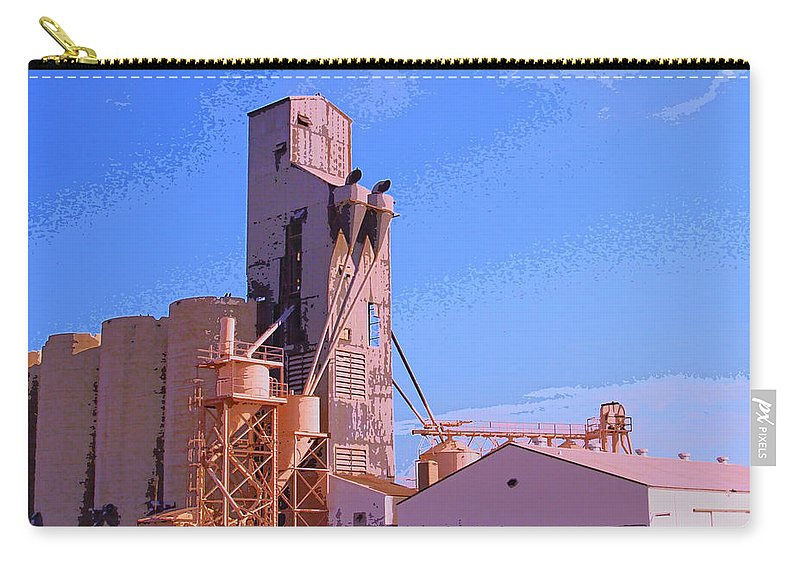 Farm Carry-all Pouch featuring the mixed media Grain Elevator by Dominic Piperata