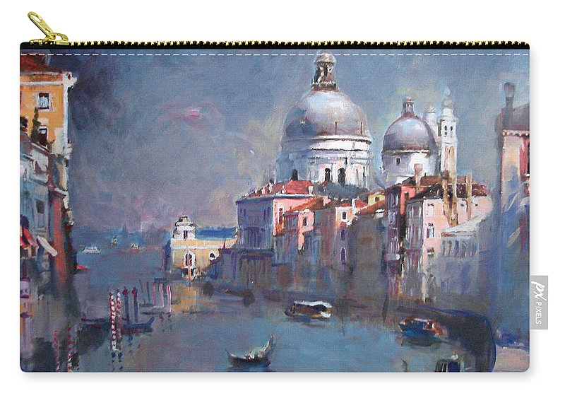 Landscape Carry-all Pouch featuring the painting Grand Canal Venice by Ylli Haruni