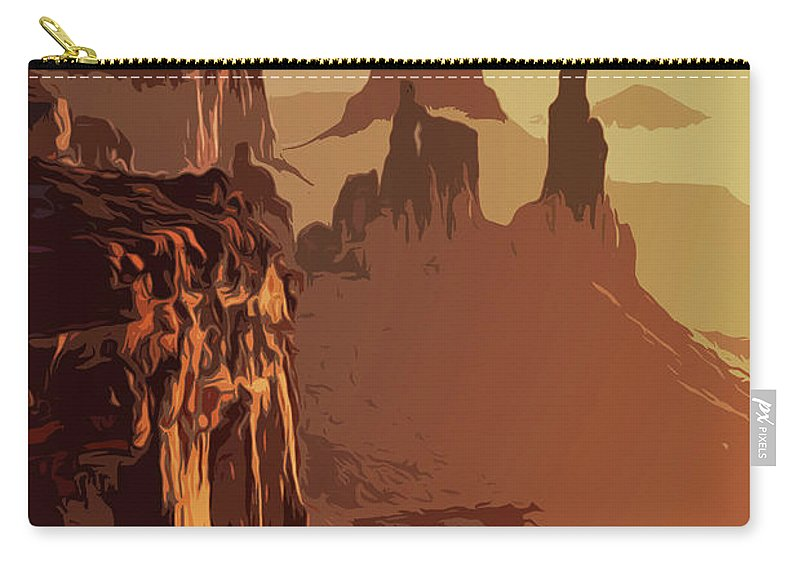 Canyon National Park Carry-all Pouch featuring the painting Grand Canyon - Usa by Andrea Mazzocchetti