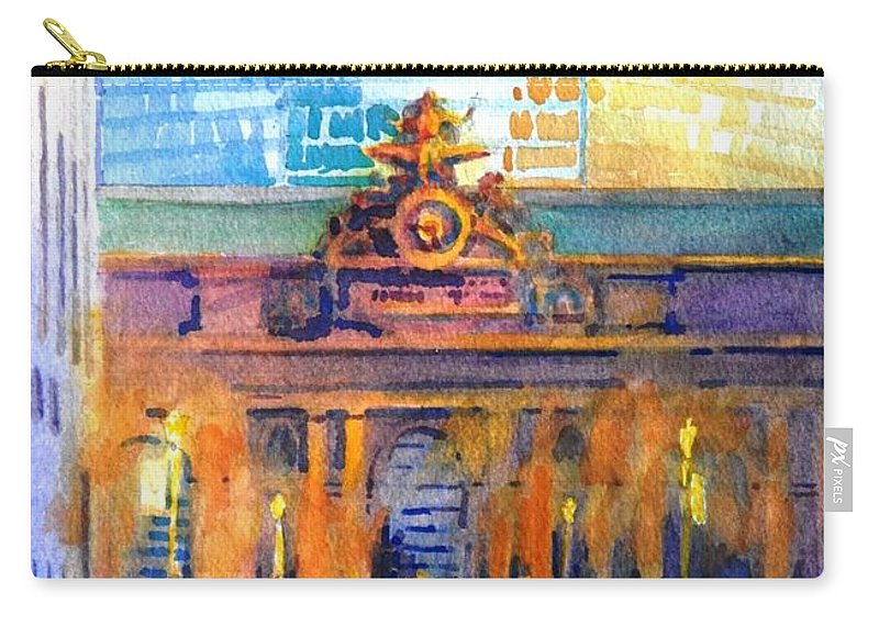 New York City Carry-all Pouch featuring the painting Grand Central Before Six, Driver by Virgil Carter