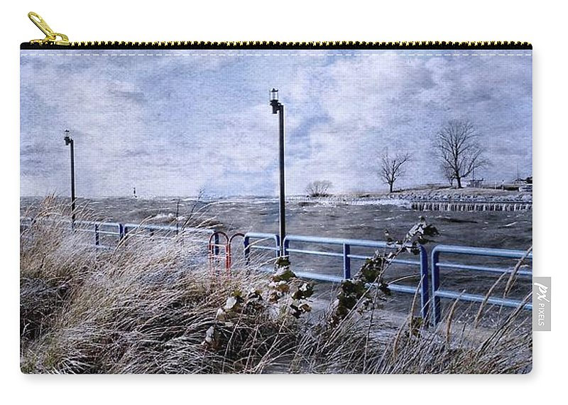 Lighthouse Carry-all Pouch featuring the photograph Grand Haven Channel With Winter Waves by Michelle Calkins