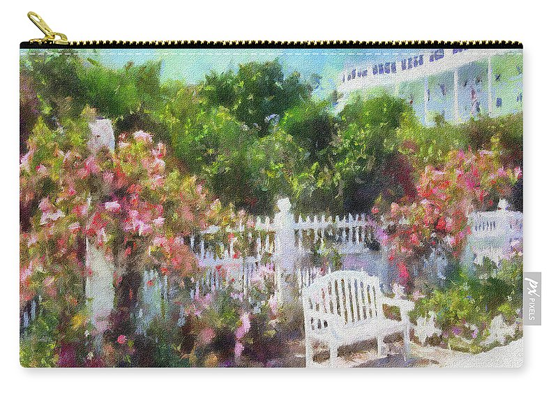 Grand Hotel Carry-all Pouch featuring the painting Grand Hotel Gardens Mackinac Island Michigan by Betsy Foster Breen
