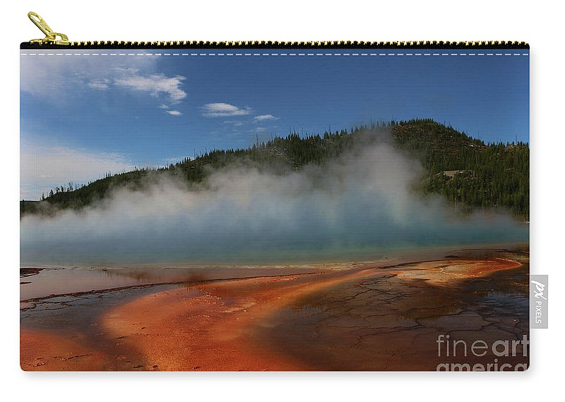 Park Carry-all Pouch featuring the photograph Grand Prismatic Spring At Yellowstone's Midway Geyser Basin by Christiane Schulze Art And Photography