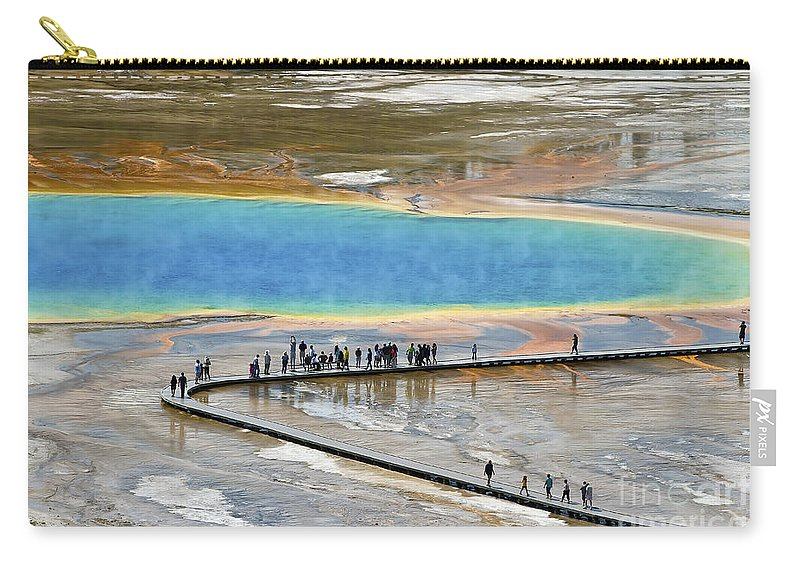 Grand Prismatic Spring Carry-all Pouch featuring the photograph Grand Prismatic Spring by Teresa Zieba