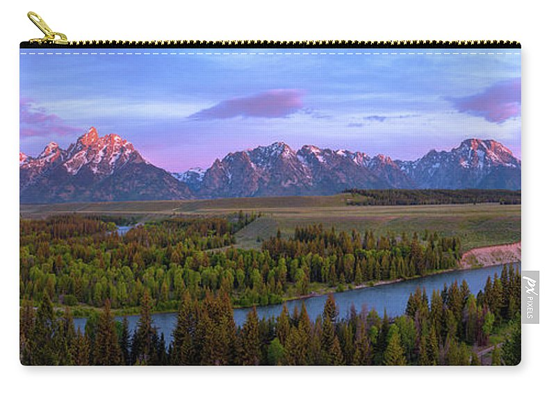 Grand Tetons Carry-all Pouch featuring the photograph Grand Tetons by Chad Dutson