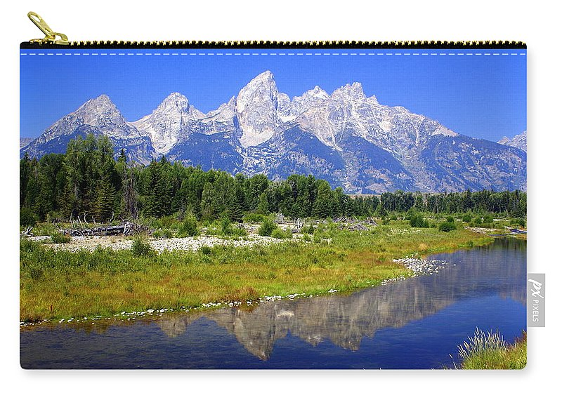 Grand Teton National Park Carry-all Pouch featuring the photograph Grand Tetons by Marty Koch