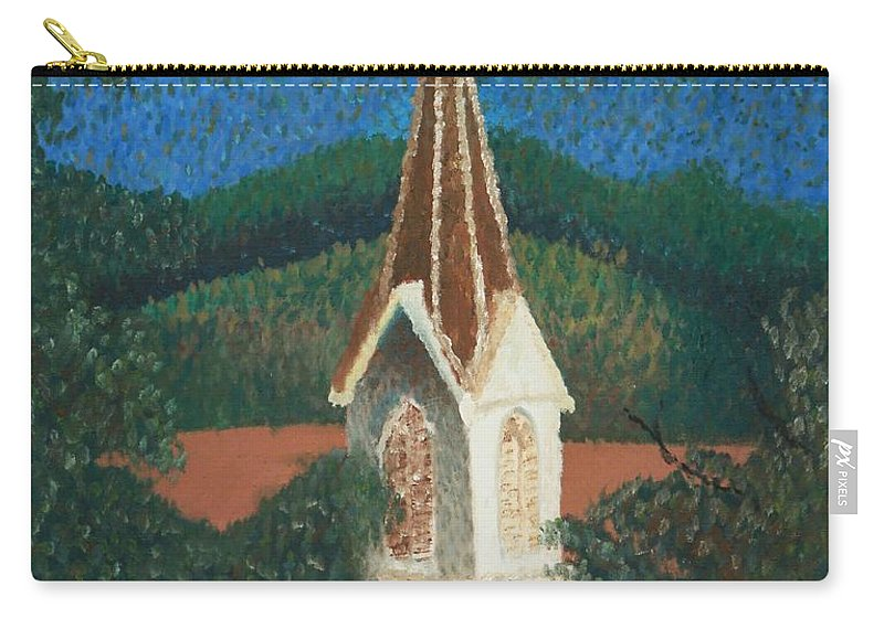 Grandma's Church Carry-all Pouch featuring the painting Grandmas Church by Jacqueline Athmann