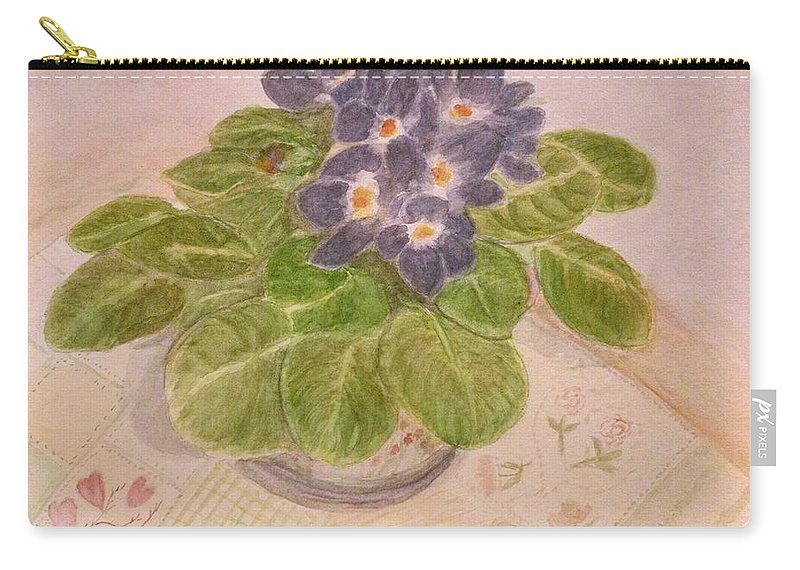 Flowers Carry-all Pouch featuring the painting Grandma's Violets by Lucy McGuffey
