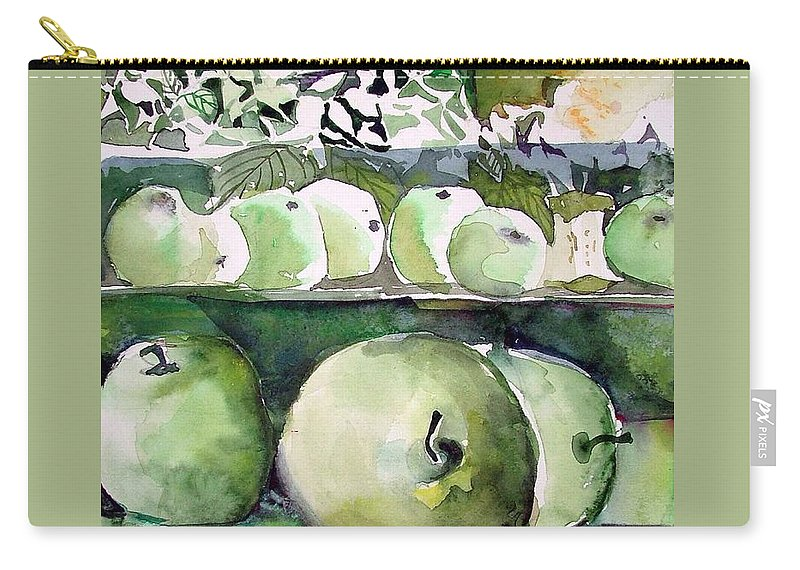 Apple Carry-all Pouch featuring the painting Granny Smith Apples by Mindy Newman
