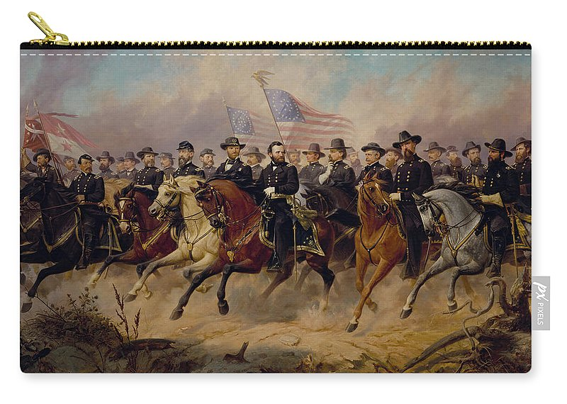 Grant Carry-all Pouch featuring the painting Grant And His Generals by War Is Hell Store