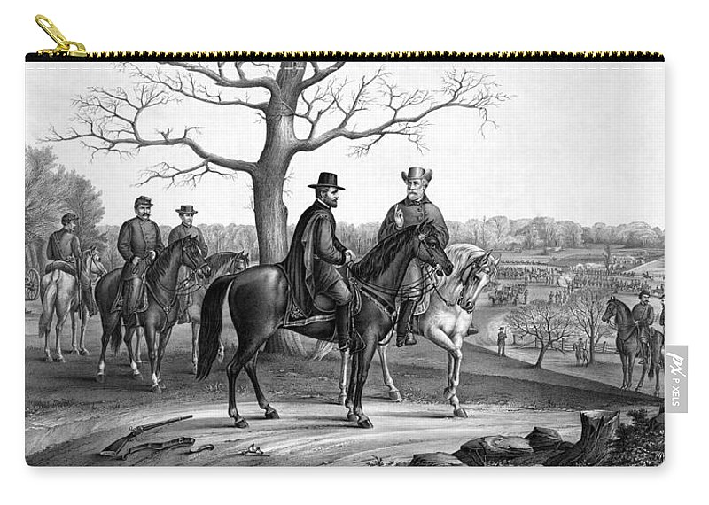 General Grant Carry-all Pouch featuring the mixed media Grant And Lee At Appomattox by War Is Hell Store