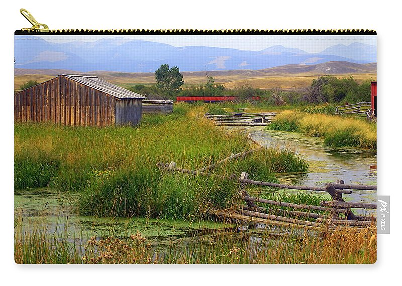 Ranch Carry-all Pouch featuring the photograph Grant Khors Ranch Deer Lodge Mt by Marty Koch