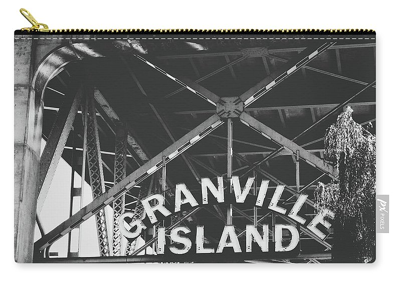 Granville Island Carry-all Pouch featuring the photograph Granville Island Bridge Black And White- By Linda Woods by Linda Woods