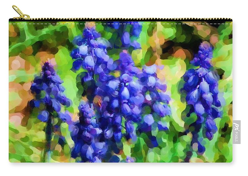 Grape Hyacinths Carry-all Pouch featuring the photograph Grape Hyacinths by David Lane