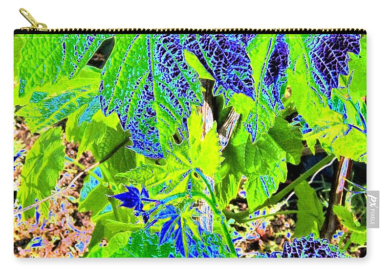 Grape Leaves Carry-all Pouch featuring the digital art Grape Leaves by Will Borden