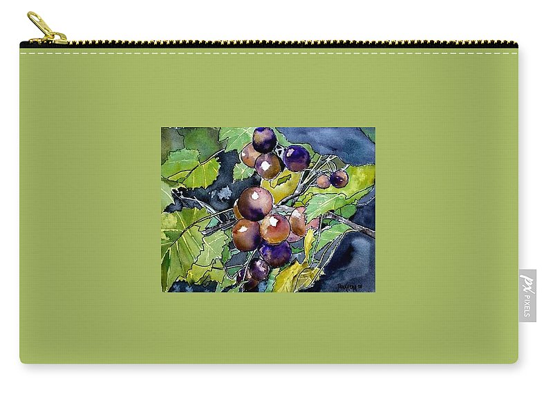 Grape Carry-all Pouch featuring the painting Grape Vine Still Life by Derek Mccrea