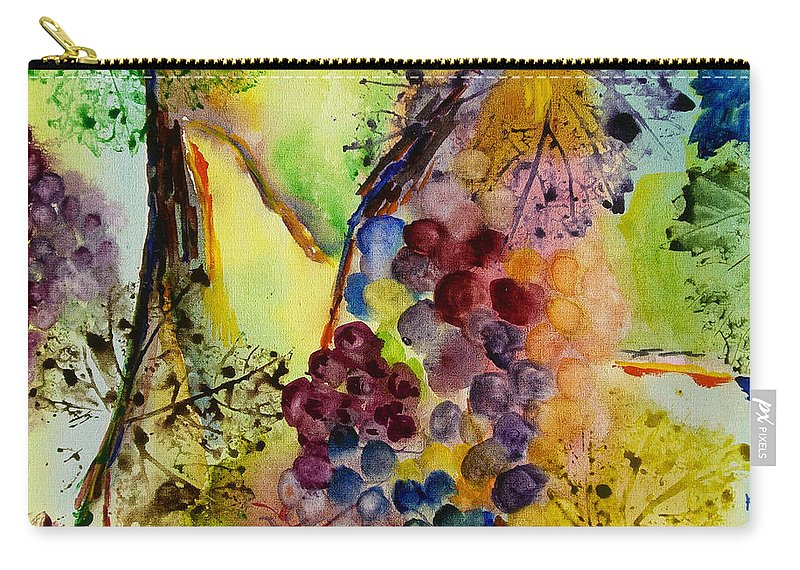 Watercolor Carry-all Pouch featuring the painting Grapes And Leaves IIi by Karen Fleschler