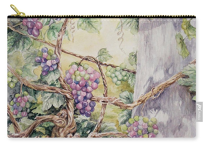 Vines Carry-all Pouch featuring the painting Grapevine Laurel Lakevineyard by Valerie Meotti