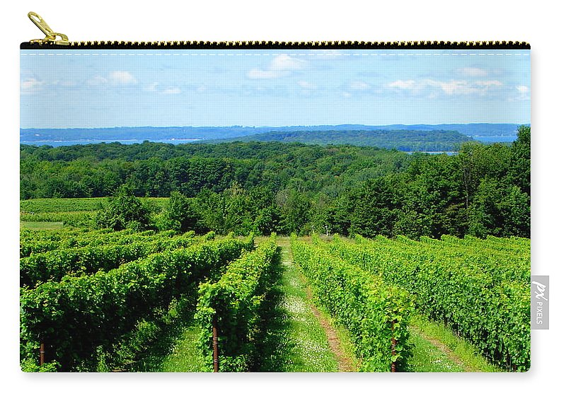 Scenic Carry-all Pouch featuring the photograph Grapevines On Old Mission Peninsula - Traverse City Michigan by Michelle Calkins