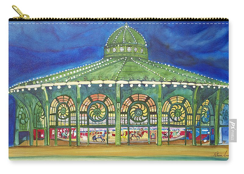 Night Paintings Of Asbury Park Carry-all Pouch featuring the painting Grasping The Memories by Patricia Arroyo