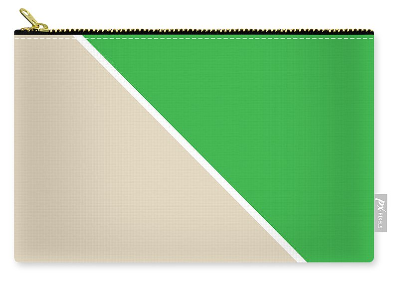Green Carry-all Pouch featuring the digital art Grass and Sand Geometric by Linda Woods