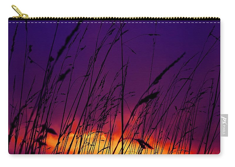 Black Carry-all Pouch featuring the photograph Grass At Dusk by Svetlana Sewell