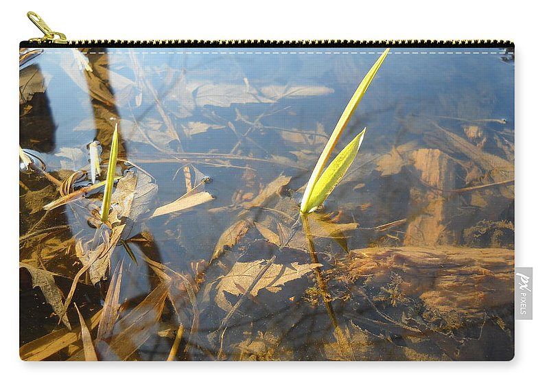 Water Carry-all Pouch featuring the photograph Grass Spears In Still Water by Kent Lorentzen