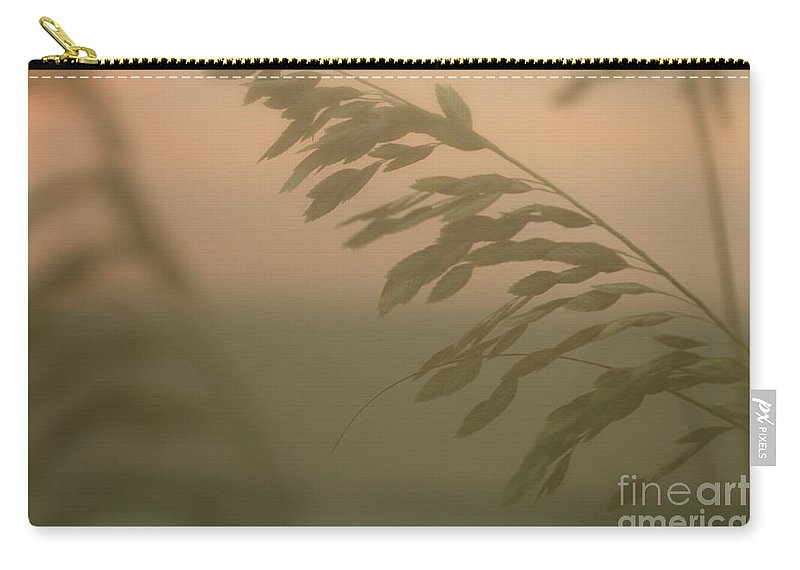 Green Carry-all Pouch featuring the photograph Grasses And Mist by Nadine Rippelmeyer