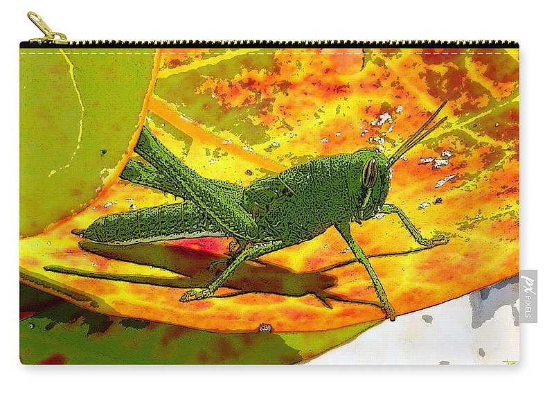 Art Carry-all Pouch featuring the painting Grasshopper by David Lee Thompson