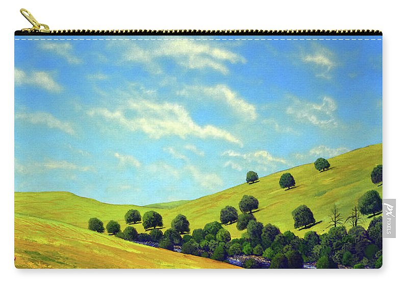 Wilderness Carry-all Pouch featuring the painting Grassy Hills At Meadow Creek by Frank Wilson