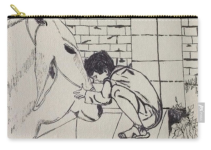 People Animal Carry-all Pouch featuring the drawing Gratitude by Gail Grundberg Judd