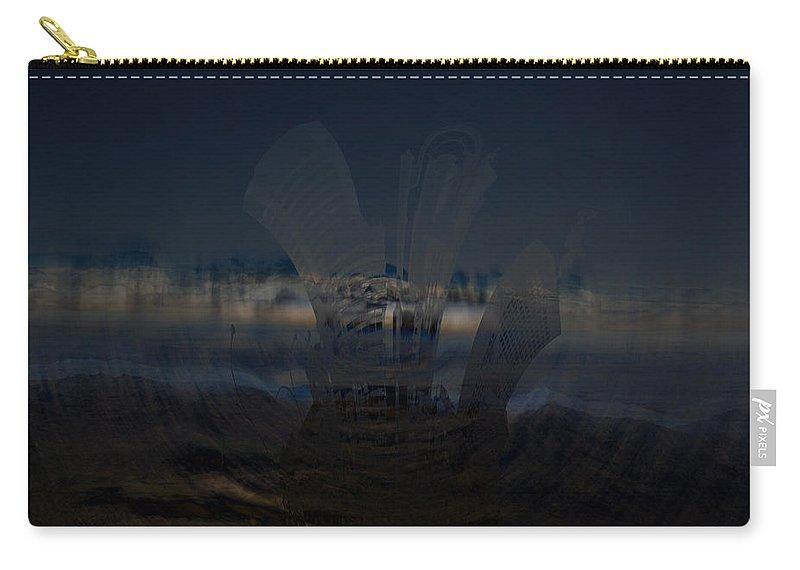 City Skyscape Land Scape Buildings Spinning Weird World Sky Mountains Carry-all Pouch featuring the photograph Gravitational Pull by Andrea Lawrence