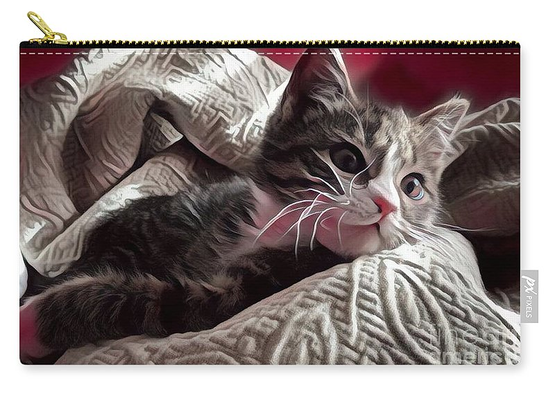 Animal Carry-all Pouch featuring the photograph Gray Tabby With White Quilted Throw by Tarisa Smith