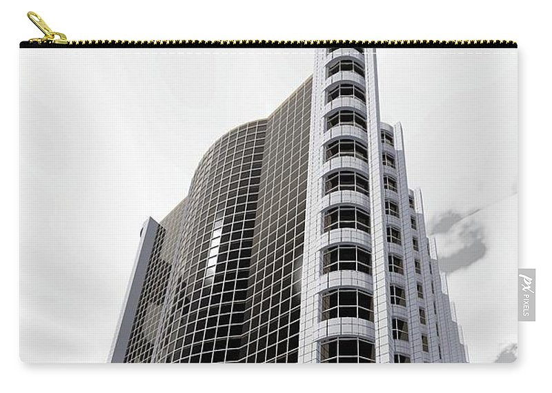 Building Rendering Carry-all Pouch featuring the digital art Gray Tile And Black Glass by Ron Bissett