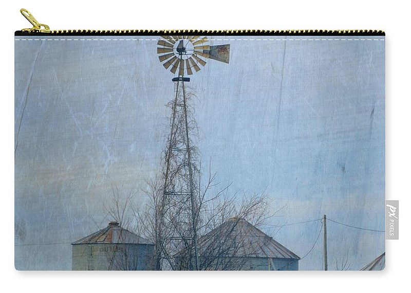 Windmill Carry-all Pouch featuring the photograph Gray Windmill 2 by Bonfire Photography