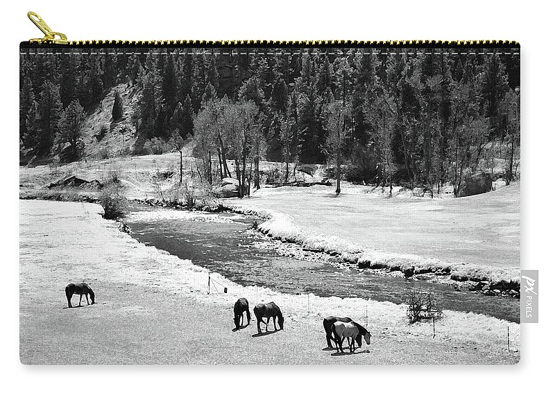 Colorado Carry-all Pouch featuring the mixed media Grazing Bw by Angelina Vick