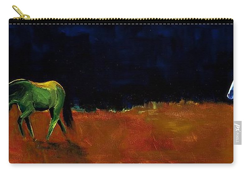 Abstract Horses Carry-all Pouch featuring the painting Grazing In The Moonlight by Frances Marino